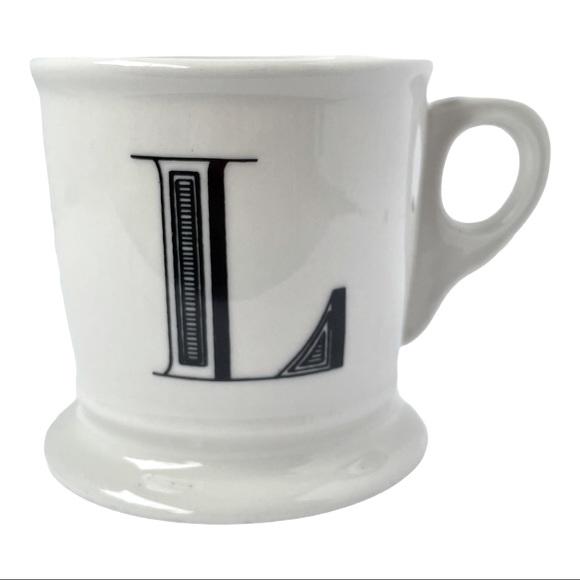 "Anthro White /Black Monogram ""L"" Stoneware Mug"